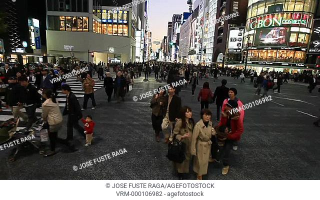 Japan, Tokyo City,Ginza District, Harumi and Chuo Avenues crossing