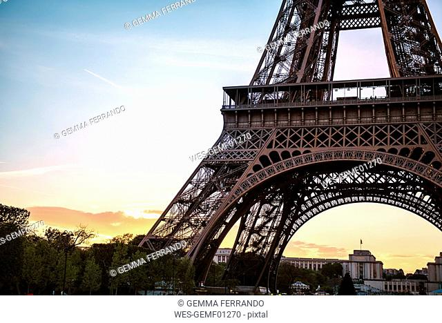 France, Paris, part of Eiffel Tower by sunset with Trocadero in the background