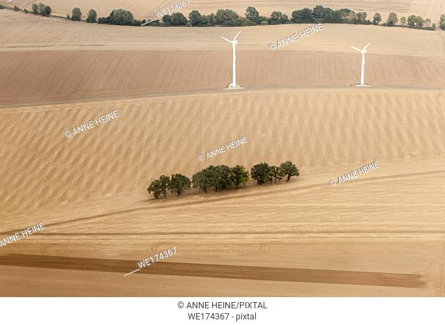 Aerial photo of Soester Börde, Haarstrang, Germany. Wind turbines on agricultural land, Haarstrang