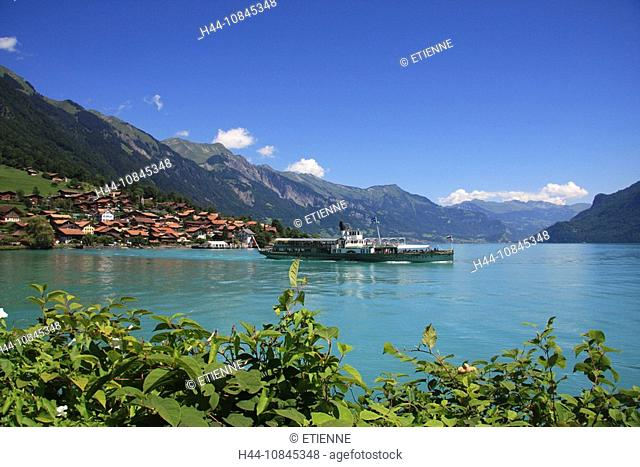 Lake Brienz, Bernese Oberland, Brienzersee, Canton Berne, Bern, Village of Oberried, Paddle steamer, steamship, steamb