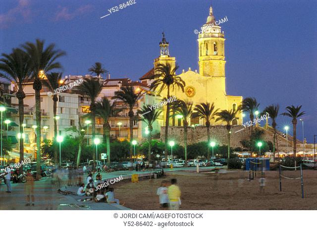 Sant Bertomeu and Santa Tecla church. (XVIIIth century). Sitges, Barcelona province, Catalonia, Spain