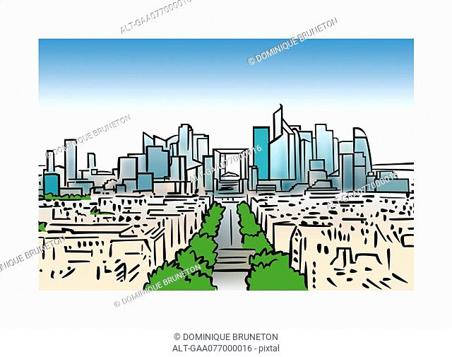 Illustration of the skyline of La Defense in Paris, France