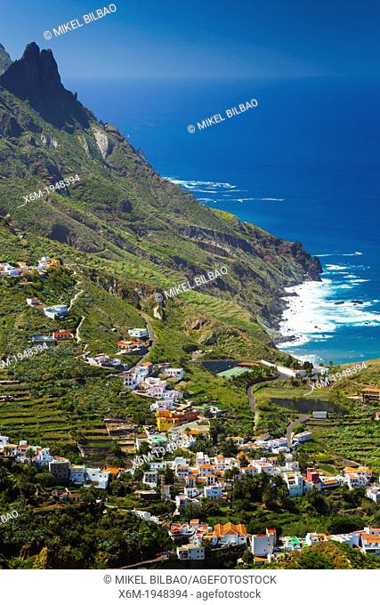 Taganaga village and cliffs. Santa Cruz de Tenerife, Tenerife, Canary Islands, Atlantic Ocean, Spain