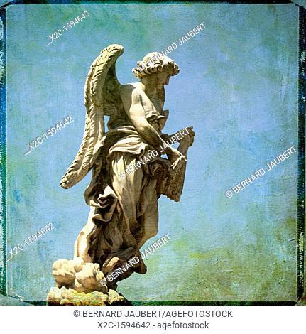 Angel with the Sudarium, Ponte Sant'Angelo, Saint Angel bridge, textured, Rome, Italy, Europe
