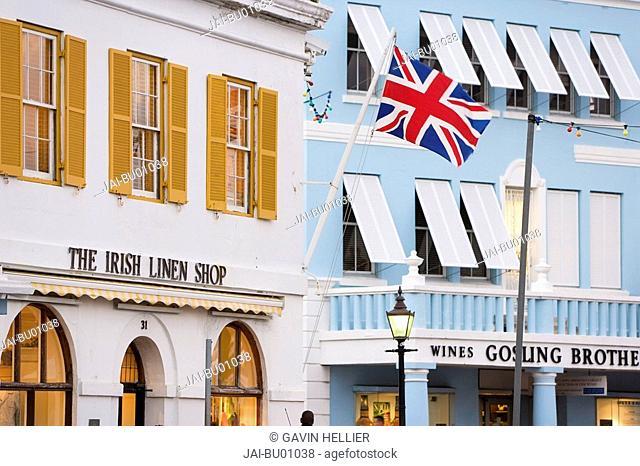Bermuda, Hamilton, colourful pastel architecture along Front Street and central Hamilton