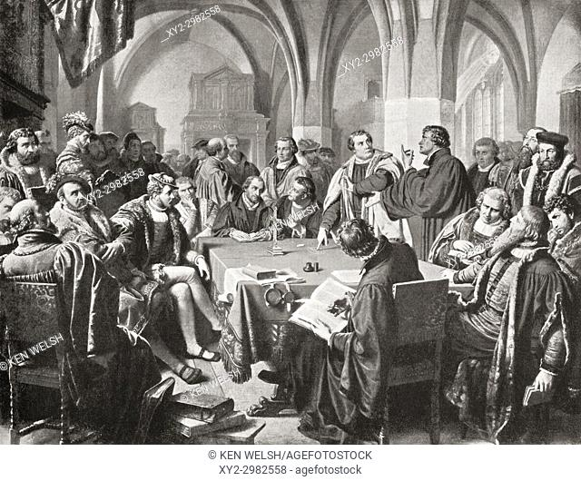The Marburg Colloquy, Marburg Castle, Marburg, Hesse, Germany 1529. A meeting which attempted to solve a disputation between Martin Luther and Ulrich Zwingli...