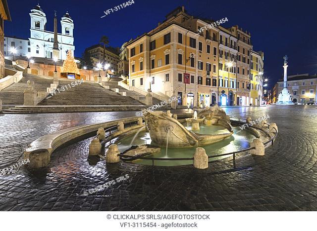 .Rome, Lazio, Italy. Spanish square and Trinità dei Monti