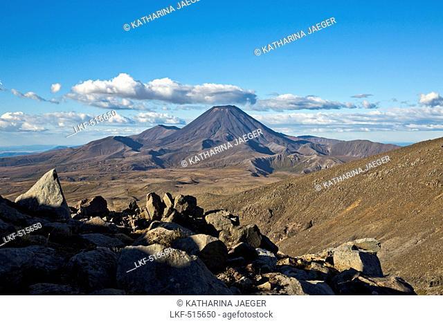 Landscape of the Tongariro National Park with view of the active volcano Mount Ngauruhoe, Tongariro National Park, North Island