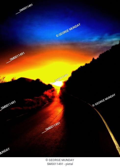 Sunset on a mountain road