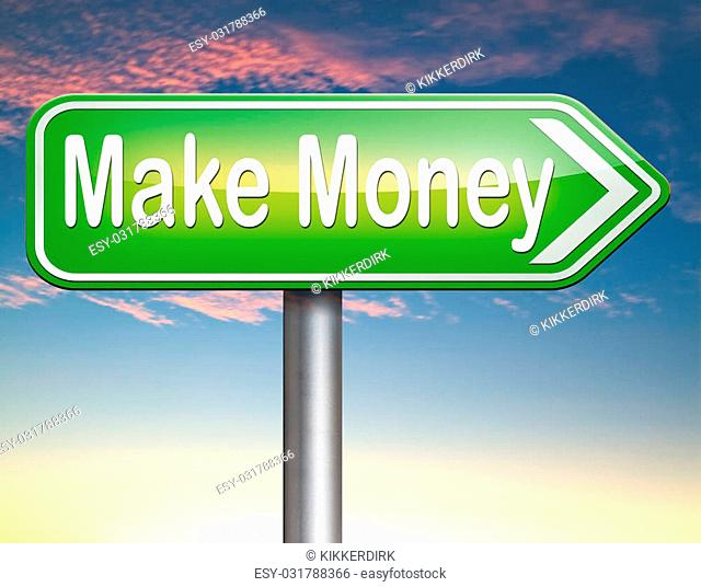 make money or earning fast and easy cash making a business profit growth