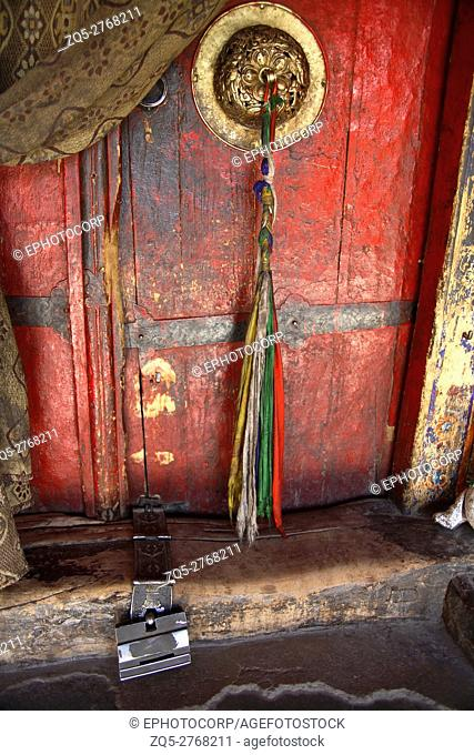 Door with traditional design, Hemis monastery at Ladakh, Jammu and Kashmir, India