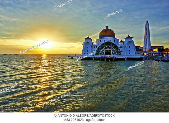 Malacca Straits Mosque at sunset. Malacca Island. Melaka. Melaka State. Malaysia