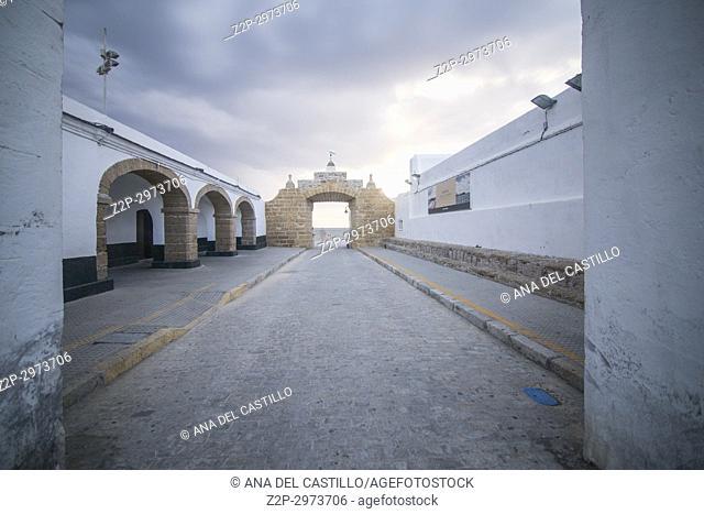 Twilight in Cadiz city Andalusia, Spain Caleta beach and San Sebastian castle