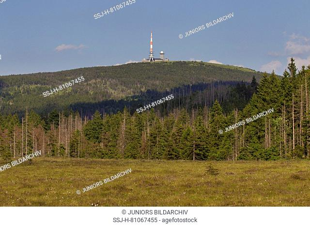 Transmission tower and hotel on the mountain Brocken. Saxony-Anhalt, Germany