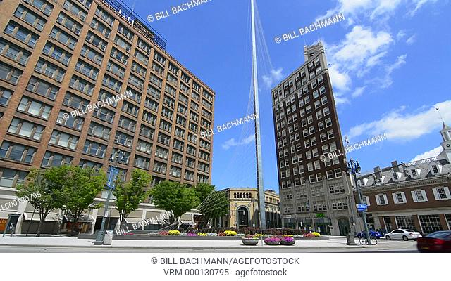 Rochester New York NY downtown East Avenue and Main Street with new Liberty Pole and street traffic city