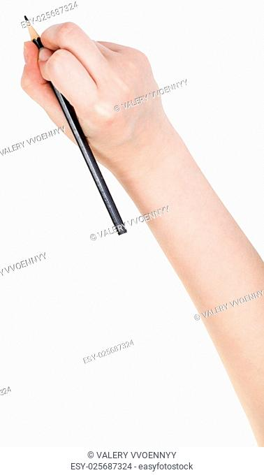 hand paints by black pencil isolated on white background