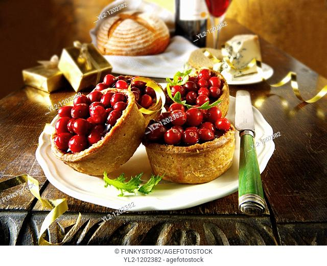 Traditional Cranberry topped pork pies