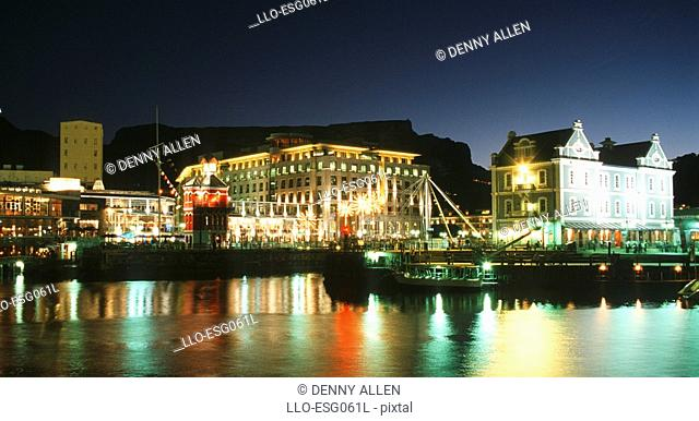 Night Lights at the Victoria & Alfred Waterfront - Table Mountain Behind  Cape Town, Western Cape Province, South Africa