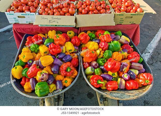 Organic bell peppers at Farmers' Market, Arcata, California