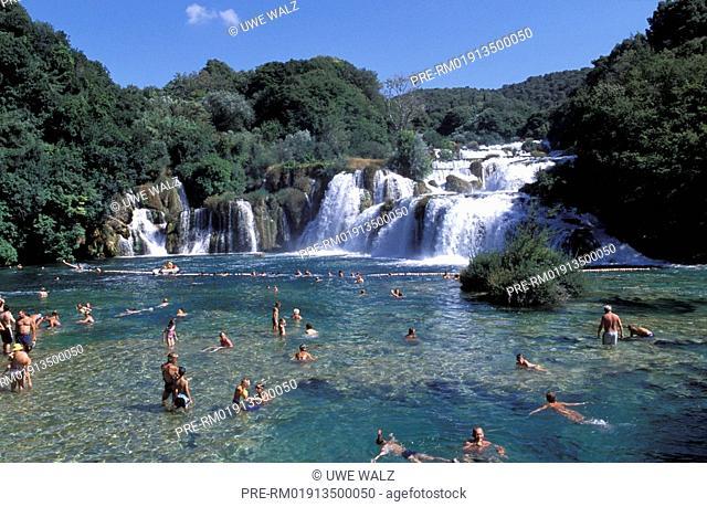 Tourists, Waterfall, Krka National Park, Croatia