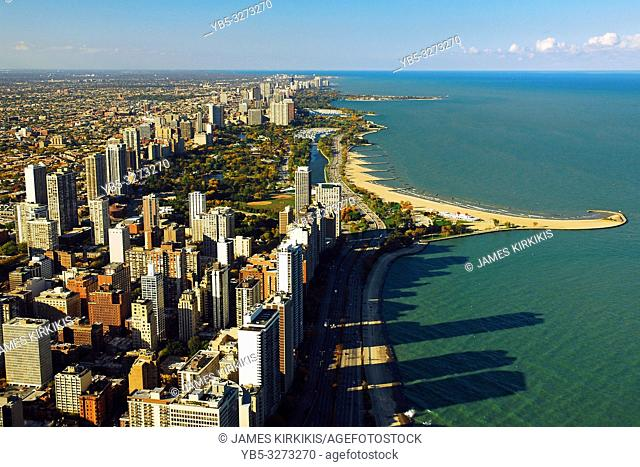 An aerial view of the Chicago North Waterfront