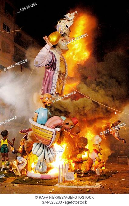 'Nit del Foc' (night of the fire) when the 'Fallas' are burned down at Valencia. Spain