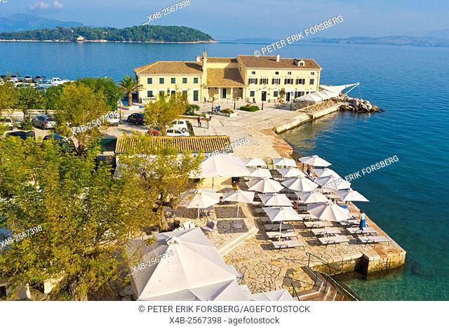 Faliraki, beach and restaurant, Corfu town, Corfu Island, Ionian islands, Greece