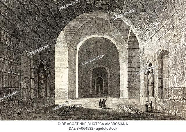 Crypte of the Abbey of Saint-Medard, Soissons, France, engraving by Lemaitre from France, premiere partie, L'Univers pittoresque