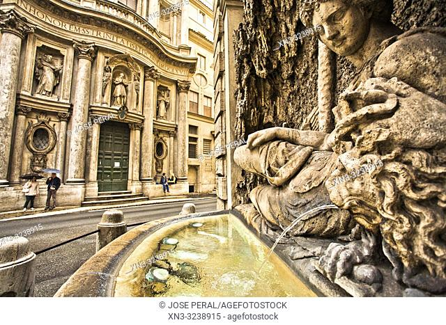On background the church of San Carlo alle Quattro Fontane, Saint Charles at the Four Fountains, San Carlino, Baroque architecture, at right the goddess Juno