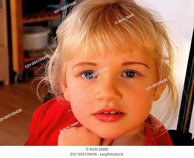 Closeup of a cute child girl