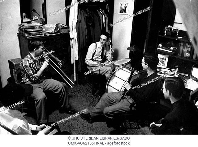 Student Life, Alumni Memorial Residences I, Donald Kniffen, John S Gallagher, [Robert Joseph?] Kaplan, Jam session in dorm room with Kniffen