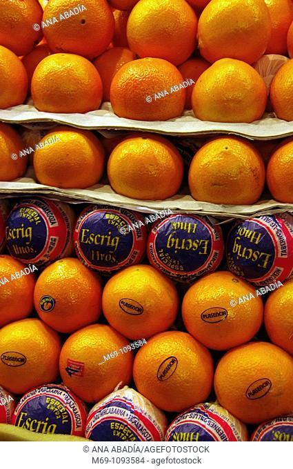 Venta de naranjas en el Mercado de Sant Josep, La Boqueria, Barcelona