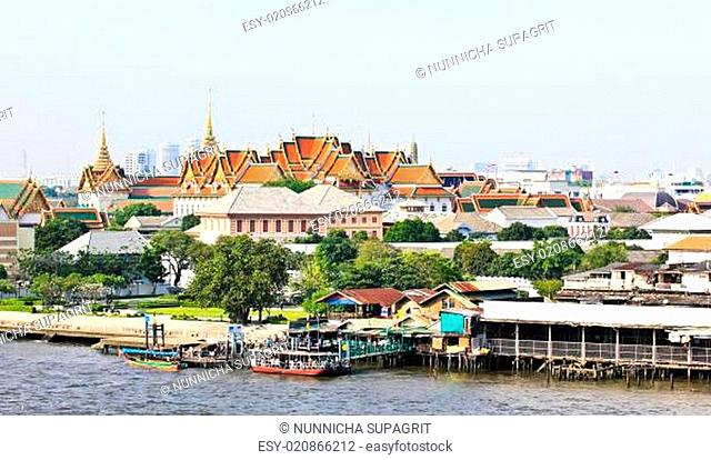Grand palace and the city of Bangkok along Chao Praya River