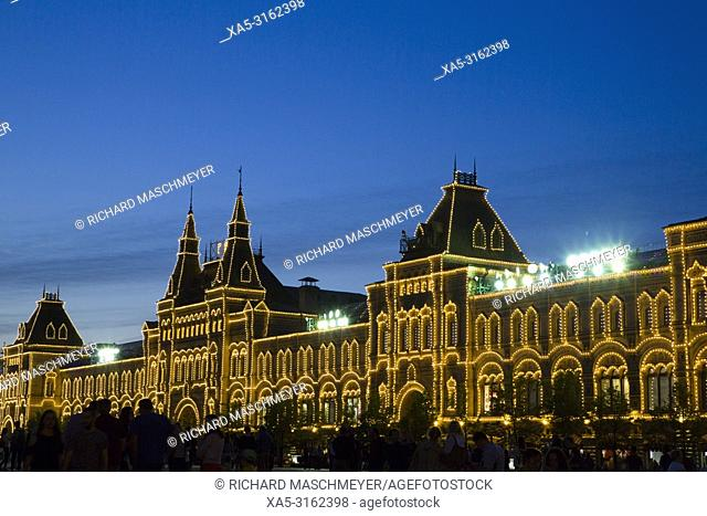Evening, Gum Department Store, Red Square, UNESCO World Heritage Site, Moscow, Russia