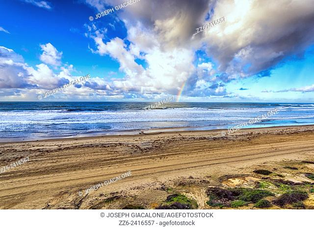 View looking down on Pacific Beach. Cloudy winter morning. San Diego, California, United States