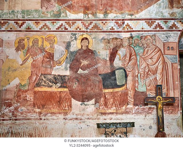 Pictures & images of the Byzantine fresco panels in the Gelati Georgian Orthodox Church of the Virgin, 1106, depicting a scene from the Assumption of the Virgin...