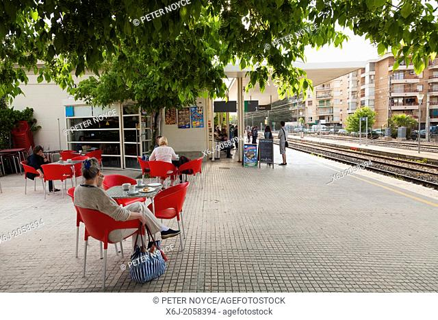 cafe tables at Salou railway station
