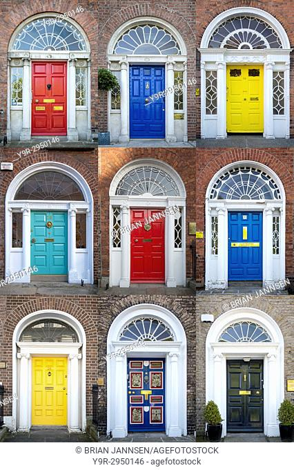 Colorful front doors to homes in Merrion Square, Dublin, Eire, Ireland