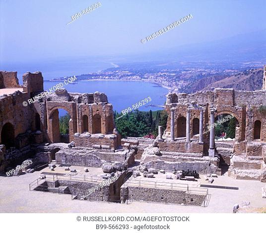 Greek Amphitheater, Taormina Ruins, Sicily Coastline, Italy