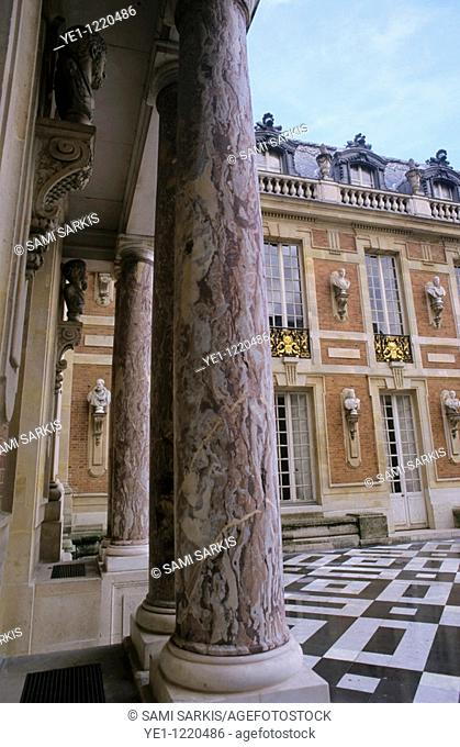 Columns in the courtyard of Versailles, Paris, France