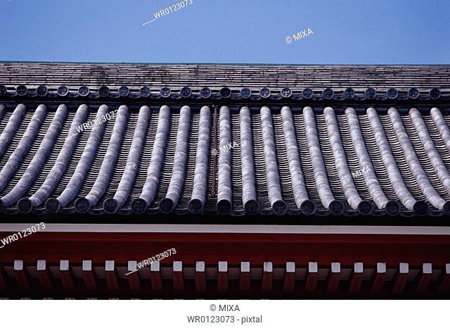 Roof tiles, close-up, Sensoji, Asakusa, Tokyo, Japan