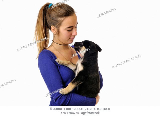 Girl with her dog pet
