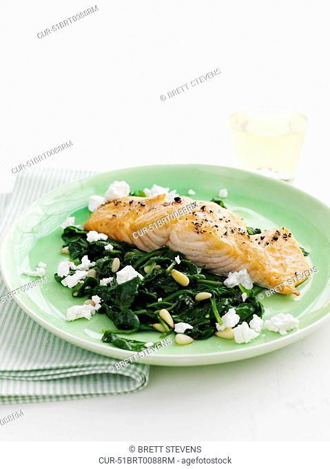 Grilled Salmon Fillet - Wilted Spinach, Pinenuts, Feta, Pepper