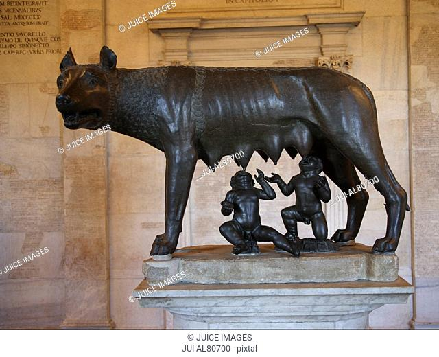 Bronze statue She-Wolf and infant twins Romulus and Remus, Capitoline Museum, Rome, Italy