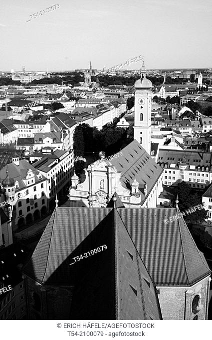 View from the tower of the old Peter to the Church of Holy Spirit, to the southeast of Munich