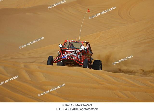 A DUNE BUGGY AT THE DESERT SAFARI IN DUBAI