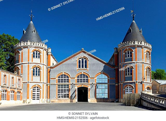 France, Marne, Reims, Estate Tudor style architecture at the headquarters of Champagne Pommery