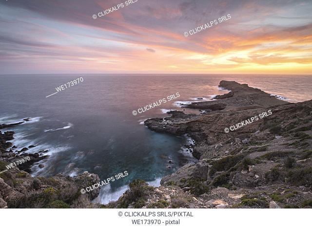 Sunset in Punta Libeccio,Marettimo,Egadi island,Trapani,Sicily,Italy,Europe