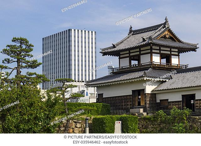 Hiroshima, Japan, Old and new, modern and historical building in Hiroshima