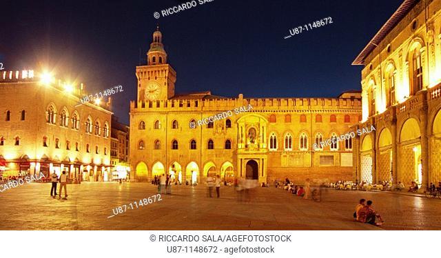Italy, Bologna, Palazzo Comunale Town Hall at Piazza Maggiore Main Square
